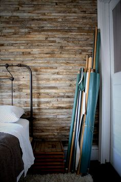 A reclaimed lath wall treatment is a great way to beautify a room.