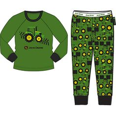 John Deere Infant, Toddler, and Youth Green Tire Track/Tractor Pajamas