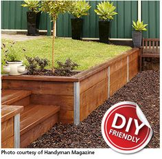 DIY retaining wall system . Could add cinder block to outside?