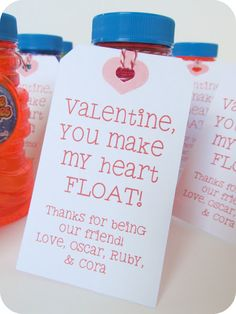 "bubbles with a tag that read, ""Valentine, you make my heart float!"" (idea from Dollar Store Crafts).  I found Miracle Bubble party packs (6 bottles) at CVS for $4 and made the tags with my Silhouette machine (the font is SNF School Yard)."