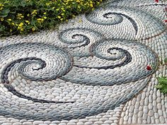 PATH, PEBBLE MOSAIC PATTERN, MEXICAN BEACH PEBBLES