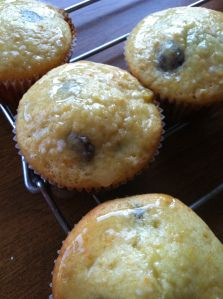 Glazed orange chocolate muffins