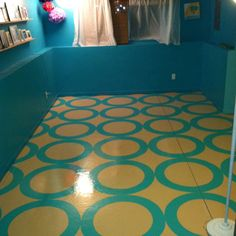 Basement floors stenciled and sealed