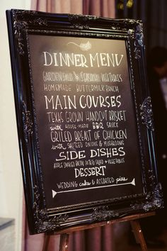 Cute idea to display the dinner menu during cocktail hour