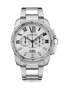 Stainless Steel Round Chronograph Bracelet Watch by: Cartier