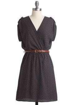 My Kind of Folk Dress - Casual, Boho, Blue, Red, Green, Buckles, A-line, Brown, Print, Epaulets, Short Sleeves, Fall, Mid-length