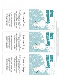 Snowman Soup-Take a single serving package of hot chocolate mix, chocolate candy kiss, marshmallows and candy cane, package in a mug or holiday-themed goody bag, then add a free printable gift tag or bag topper for a cheery winter gift.