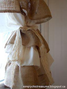 burlap & muslin ruffled curtains