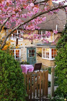 Adorable Cottage. carolyn aiken, country cottages, pink blossom, dream, aiken hous, door, blossom tea, cottag breath, garden