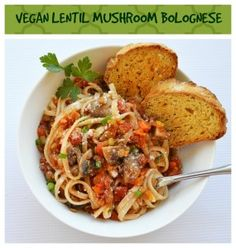 Udon Lentil Mushroom Bolognese {Vegan}