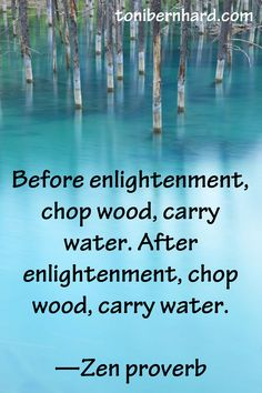 Before enlightenment, chop wood, carry water. After enlightenment, chop wood, carry water. —Zen proverb
