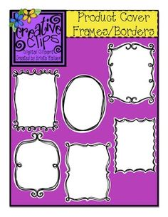This set has 24 images to help you create fun and attractive covers for your TpT products and activities. Included in this set are 12 different product cover frames-which have a doodle border with white center and thin white border around the edge.$