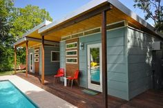 kanga studio tiny houses 3   Two Poolside Tiny Houses: High End Humble Living?