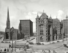 """Buffalo, New York, circa 1908. """"Shelton Square -- St. Paul's Episcopal Cathedral, Prudential Building, Erie County Savings Bank."""""""
