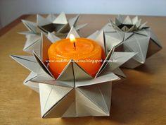 As Dobradeiras - Origami: Caixa Estrela Hexagonal (Scatola a Stelle Esagonale) by Giuliana Beber e variações