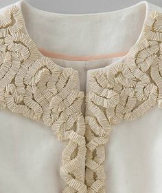 Dimensional Ribbon Textures - ribbon embellished jacket detail - fabric manipulation for fashion; textured patterns with fabric