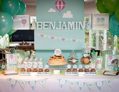 This up and away baby shower is darling. Love the hot air balloon ideas! It could easily be a first birthday theme. found via www.karaspartyideas.com