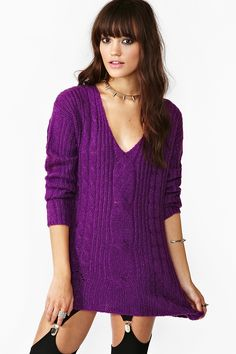 Shredded Cable Knit - Violet in Clothes Tops at Nasty Gal