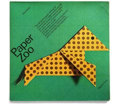 """""""Paper Zoo: The delightful paper-folding kit comprising a 12-page booklet and 36 pre-scored sheets of colourful paper to fold a variety of beautiful exotic and domestic animals. A highly entertaining and educational device to develop manual skills and to stimulate the imagination."""" Published by the MoMA; Design: Ernst Roch, 1985."""