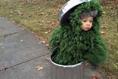 How adorable is this Oscar the Grouch costume? holiday, kid halloween costumes, stuff, costume ideas, kid costumes, diy halloween costumes, baby halloween costumes, babi costum, babi halloween