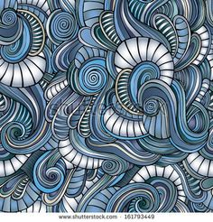 Seamless abstract hand-drawn waves pattern by balabolka, via ShutterStock