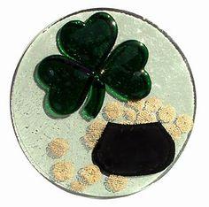 Fused Glass Shamrock Pot of Gold