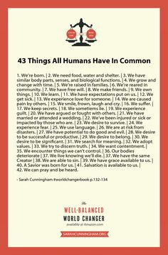 43 Things All People Have In Common   This e-book is only $3.49 during pre-release week. Kindle - http://amzn.com/B00C2ZT8M2 Nook - http://bit.ly/1dzPuoZ