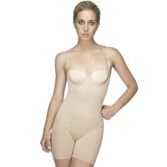 Get a classic shape molded by this mid thigh bodysuit. Wear this advanced powernet bodysuit to smooth your abdomen, waist and thighs; and underwire cups for bust support. It has a lace trim accent and adjustable straps for a modified fit. Slip into this bodysuit for a more captivating silhouette.