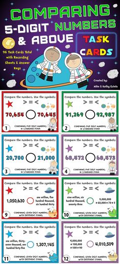 Comparing Numbers Task Cards {Compare 5-Digit Numbers and Above} $