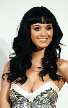 Katy Perry ♥ long hairstyles, black hair, kati perri, hairstyle ideas, curl, katy perry, bangs, beauti, hair color