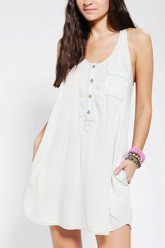 Pins And Needles Lace Pocket Chambray Tank Dress #urbanoutfitters