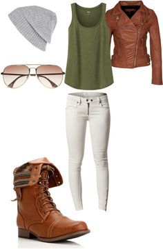 brown leather jacket white skinny jeans brown combat boots grey beanie