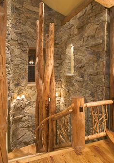 Rustic mountain home staircase