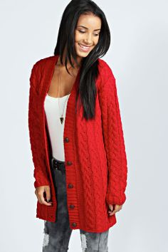 Lucy Red Cable Knit Cardigan