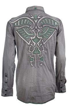 Roar® Men's Grey Boost Embroidered Long Sleeve Western Shirt