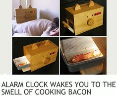A bacon alarm clock shaped like a pig?! Best invention of all time! Is it weird that I want this?! Lol.
