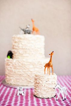 smash cake animal with balloon/flag in hand - Pink Safari Theme First Birthday Party
