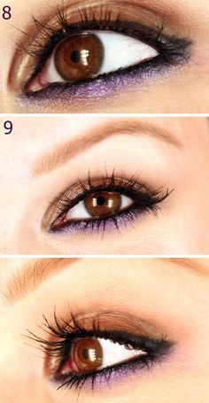 Brown and Purple Eyeliner Tutorial...  I never thought about doing purple with brown.. it's Beautiful. ~Ruth