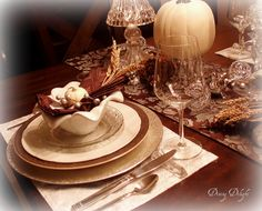 Thanksgiving Place Setting by dining delight,   http://dining-delight.blogspot.ca/2012/10/white-pumpkins-and-crystal-for.html