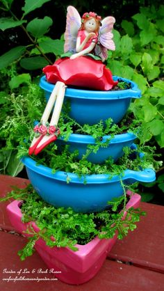 Dollar Store Funnels Planter ~ Kitschy Kitchen Garden Accents
