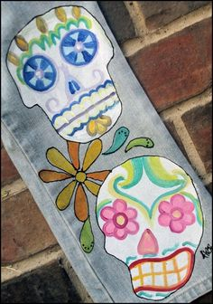 Day of the Dead Sugar Skulls painted jeans for by dreaminbohemian, $75.00