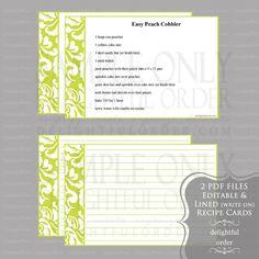 Editable and Printable - 4 x 6 Lime Damask Recipe Cards - (2) PDF Files