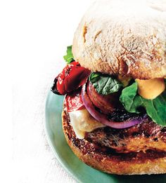 Grilled turkey burger with cheddar and smoky aioli (from bonappetit.com) #CIGMemorialDay