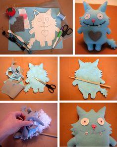 felt monster sew, stuf felt, craft, felt monster, toy, monsters, gift idea, diy, kid