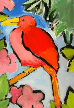 say things with color: Direct Painting with Kids Amazing bird lesson. LOVE the colors.