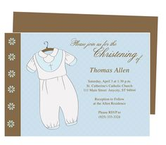 Baptism Outfit Dress Baby Baptism Invitation Templates. Available for boy (shown) and girl Christening attire.  Edit with Word, Publisher, Apple iWork Pages, OpenOffice. Easy to edit and print.