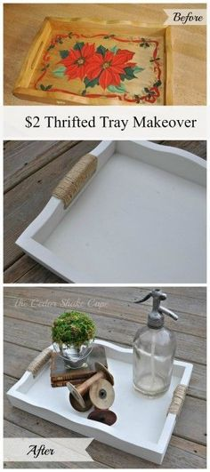 Thrift Store Tray Makeover. I love painting trays from garage sales and flea markets. A quick easy DIY project for your farmhouse decor.
