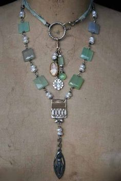Double wrap necklace-handmade jewelry By: Deryn Mentock...I love the layout of this necklace...I have some square beads that I have been struggling to come up with a cool design for.