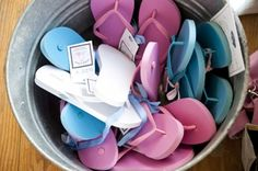 Bucket of Flip Flops Wedding Guests