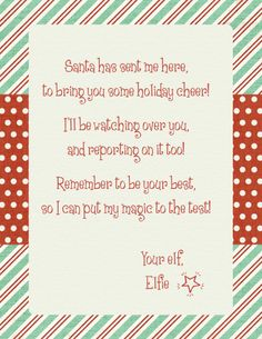 Christmas Letter Template Elf On A Shelf Arrival